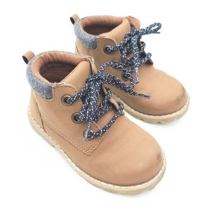 GYMBOREE baby boy brown lace-up timberland boots